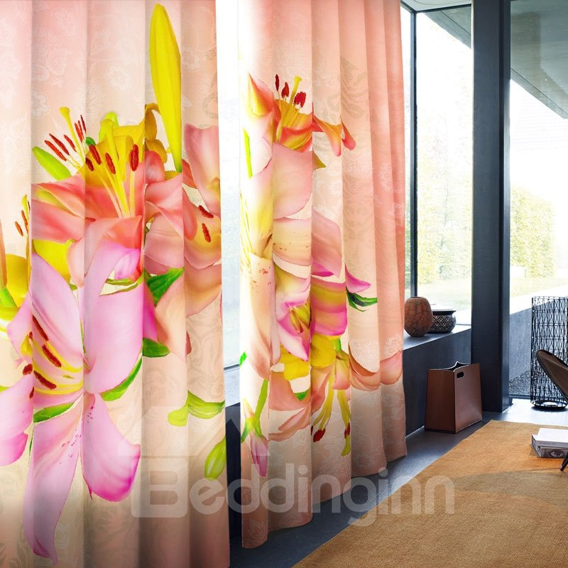 3D Colorful Lily Flowers Printed Tencel 2 Panels Custom Living Room Curtain