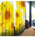 Vivid and Golden Sunflowers Printed Tencel Custom 3D Curtain for Living Room