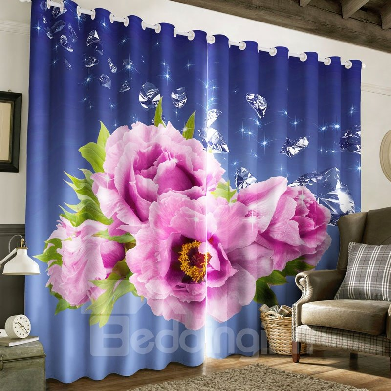 Pink Roses Printed Thick Polyester 2 Panels Living Room Grommet Top Curtain
