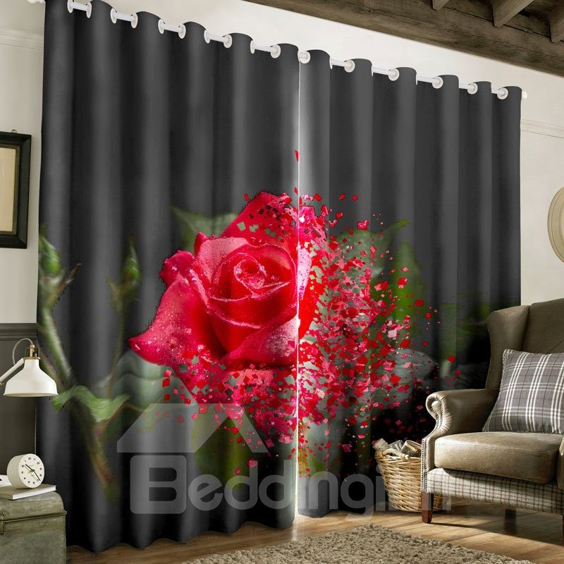 Creative and Wonderful Red Rose Printed 2 Panels Custom Curtain for Living Room