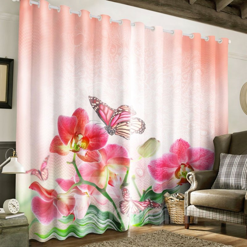 3D Pink Flowers and Butterflies Printed Custom Living Room Window Drape