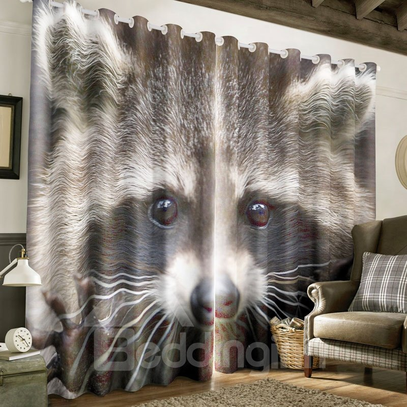 3D Grey Raccoon Printed Thick Polyester Custom Blackout Grommet Top Curtain