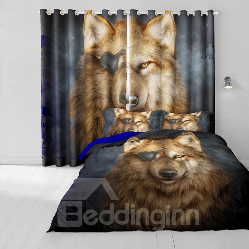 3D Ferocious and Callous Wolf with One Eye Printed 2 Panels Custom Living Room Curtain