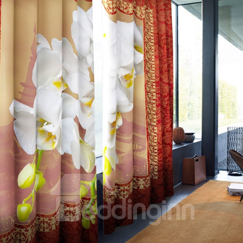 3D Retro Polyester with White Flowers Printed 2 Panels Custom Curtain