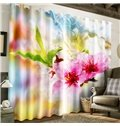 3D Vivid Peach Flowers Printed 2 Panels Living Room and Bedroom Curtain