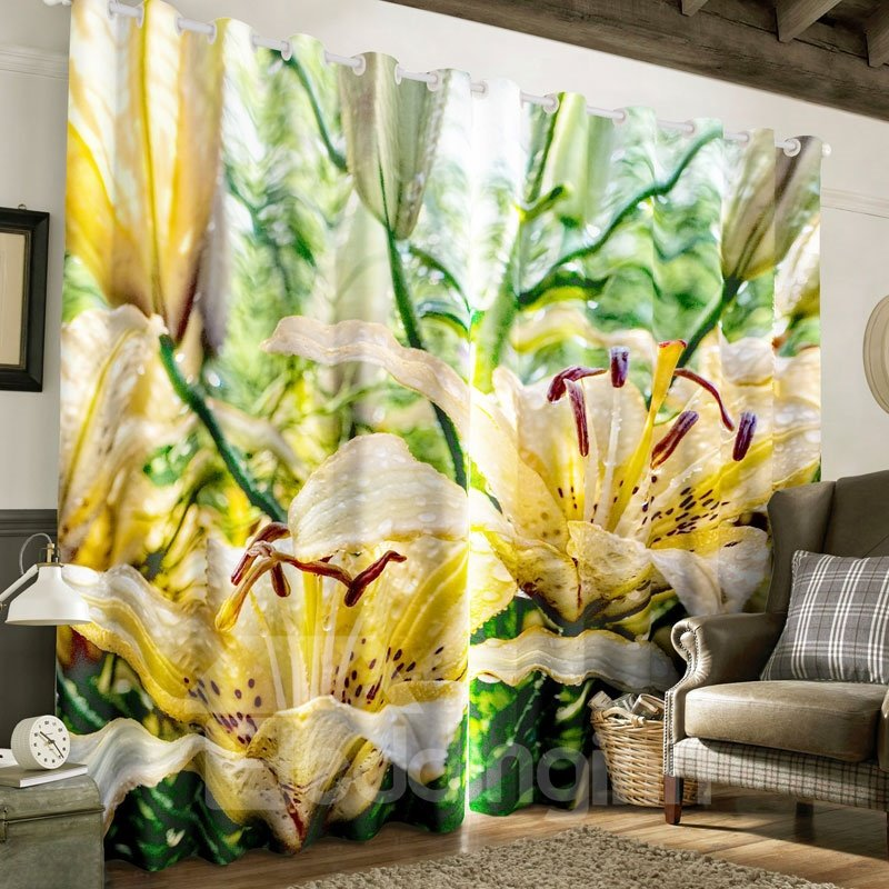 Vivid Yellow Flowers and Dewdrops Printed 2 Panels Grommet Top Curtain