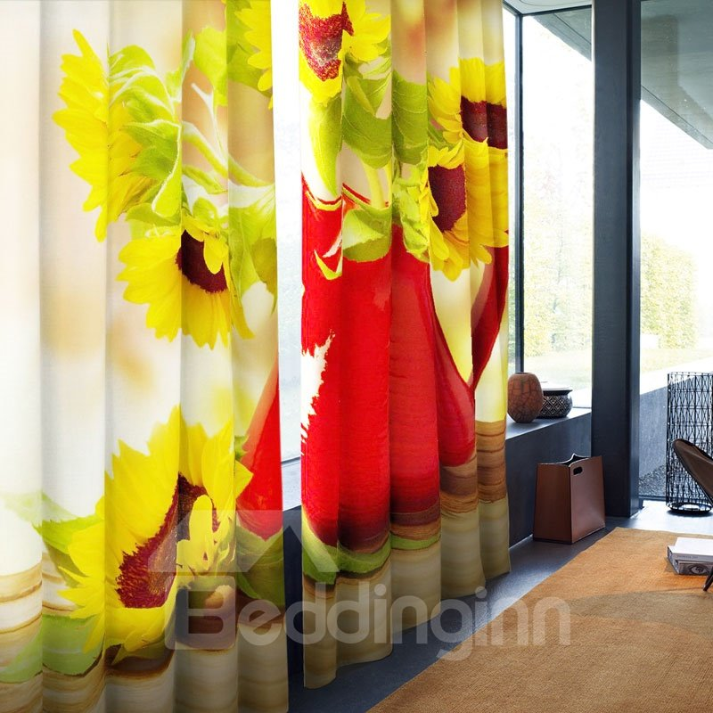 Wonderful and Creative Golden Sunflowers Printed 2 Panels Blackout Living Room Curtain