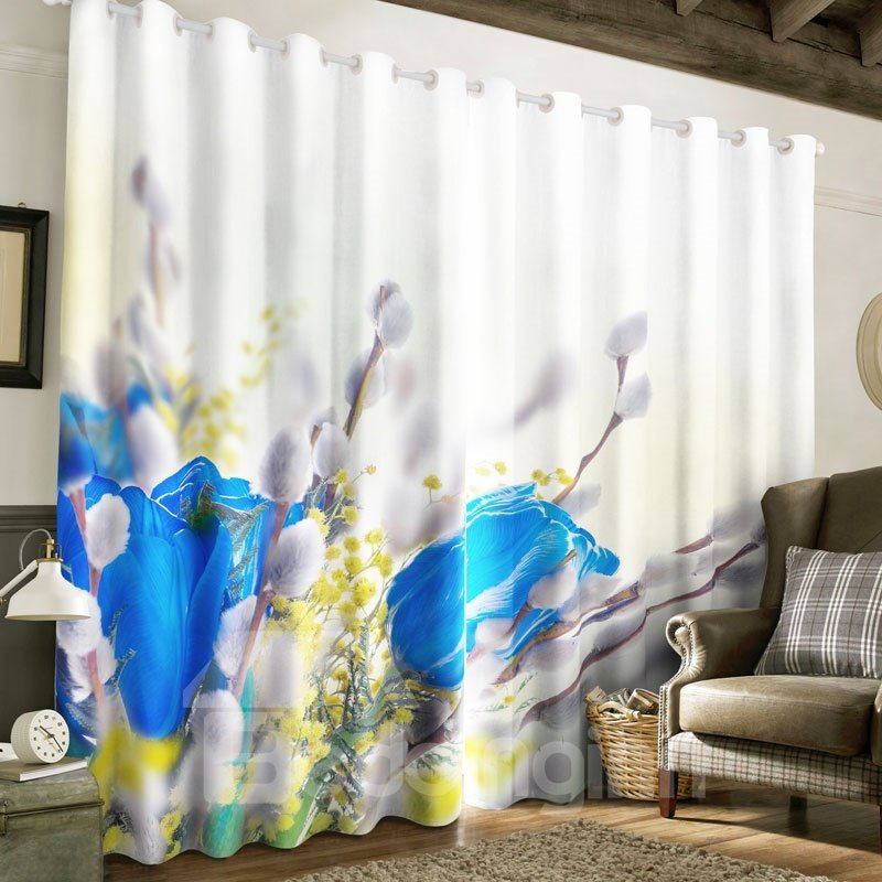 3D Creative Blue Roses Printed 2 Panels Grommet Top Curtain for Living Room