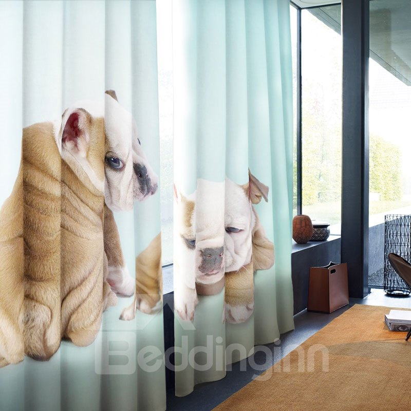 3D Fat and Lazy Two Bell Dogs Printed 2 Panels Polyester Grommet Top Custom Curtain