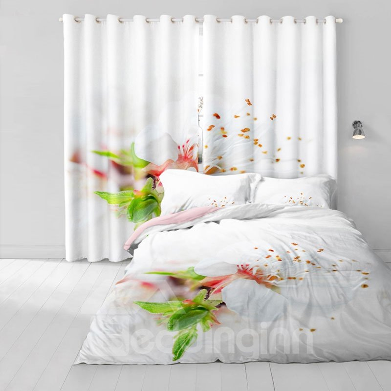 3D White Flowers and Red Petals Printed Custom 2 Panels Blackout Window Drape