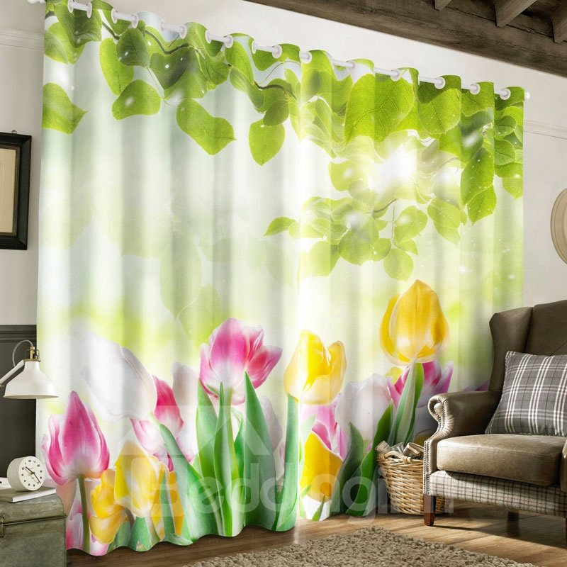 Pink and Yellow Magnolias Printed Pastoral Style 2 Panels Custom Living Room Curtain