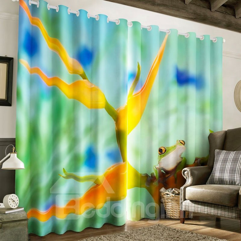 3D Sitting Frog and Yellow Flowers Printed 2 Panels Living Room Custom Curtain