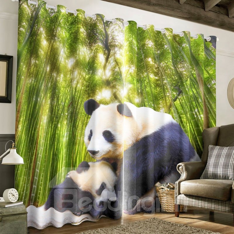 3D Lovely Panda Hug and Green Bamboo Printed Polyester Custom 3D Curtain for Living Room