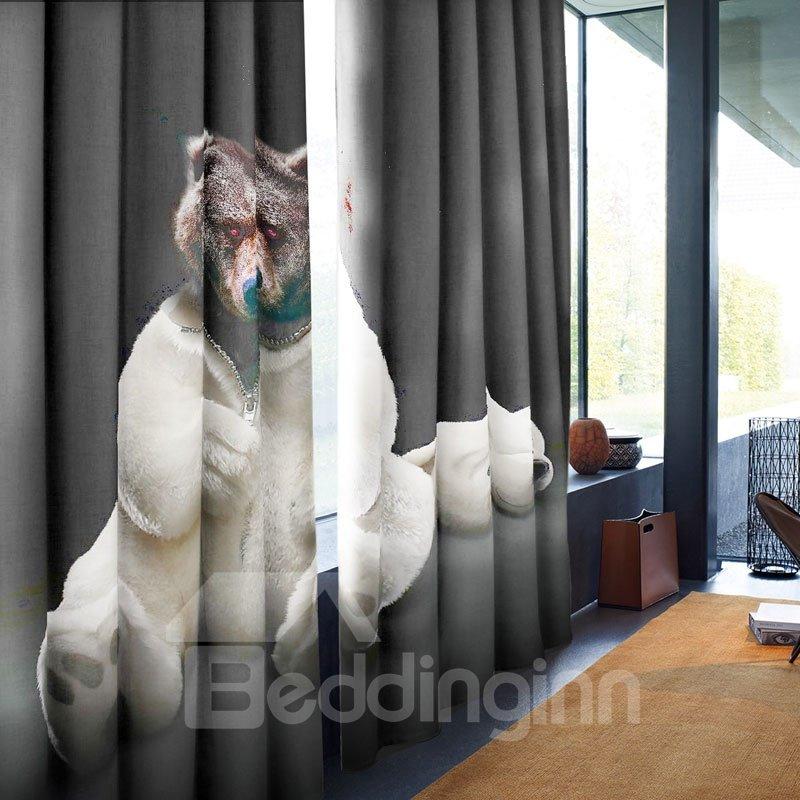 3D Black Fierce Bear Printed Custom Polyester Grommet Top Curtain for Living Room