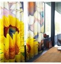 3D Fresh Sunflowers Printed Pastoral Style Tencel Materials Custom Living Room Curtain
