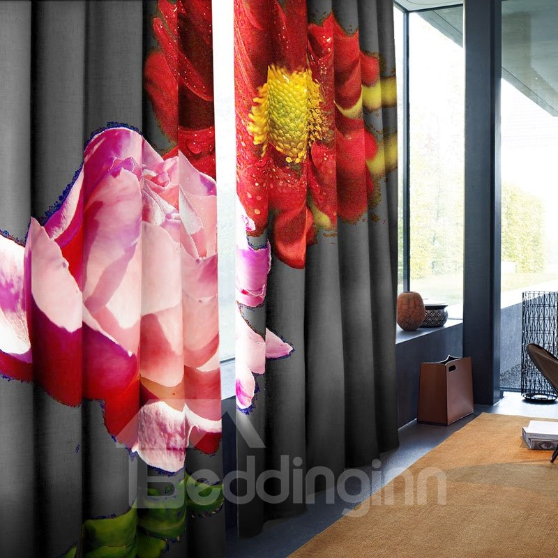 3D Creative Black with Red Roses Printed 2 Panels Custom Window Curtain