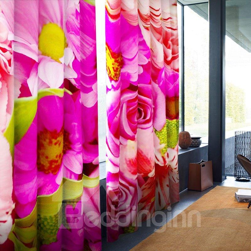 3D Vivid Pink Flowers Printed 2 Panels Grommet Top Curtain for Living Room