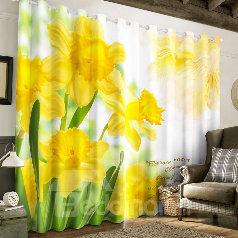 3D Yellow Flowers Printed Pastoral Style Polyester Custom Living Room Curtain
