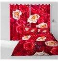 3D Romantic Red Roses Printed 2 Panels Grommet Top Custom Window Curtain
