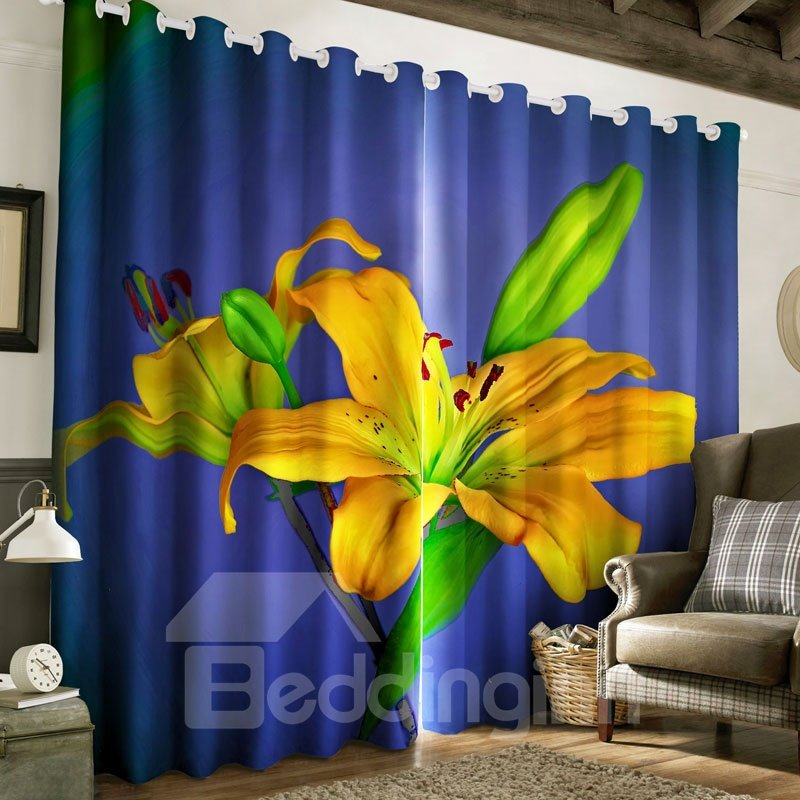 3D Vivid and Fresh Yellow Lily Flowers Printed 2 Panels Custom Living Room Curtain