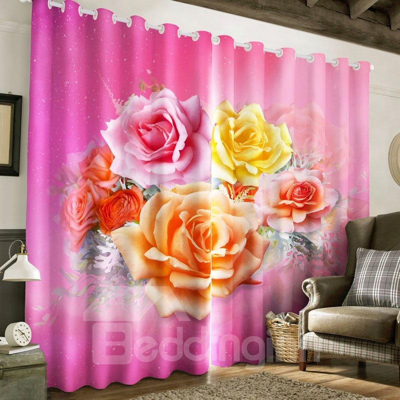 3D Red Roses Printed Thick Polyester 2 Panels Living Room Custom ...