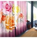 3D Red Roses Printed Thick Polyester 2 Panels Living Room Custom Window Curtain