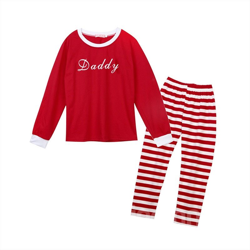 Fashion and Creative Style Letter with Stripe Pattern Red Polyester Family Christmas Pajamas