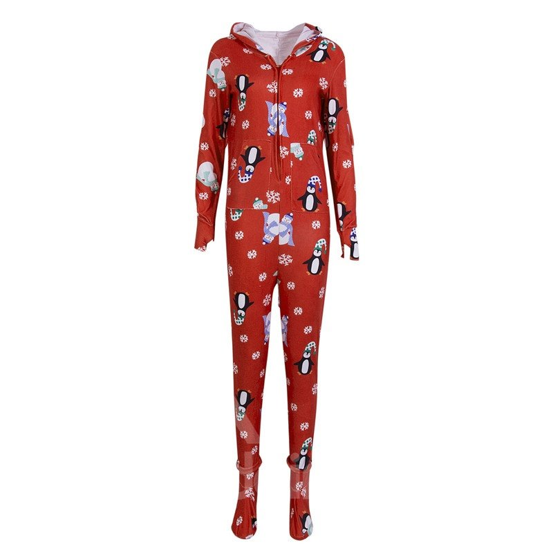 Elegant and Creative Style Iceman with Snowflake Pattern Red Onesie Polyester Family Christmas Pajamas