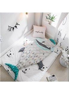 Shark Printed Cotton 1-Piece Gray Baby Sleeping Bag