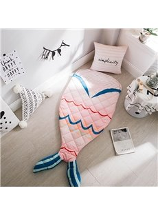Mermaid Printed Cotton 1-Piece Pink Baby Sleeping Bag