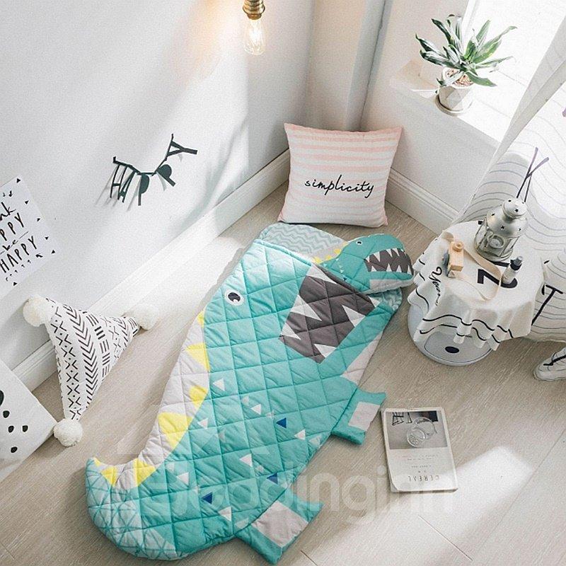 Little Crocodile Printed Cotton 1-Piece Blue Baby Sleeping Bag