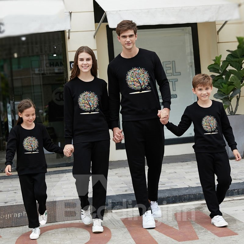 Fashion and Modern Colorful Tree Pattern Four Colors Family Christmas Pajamas