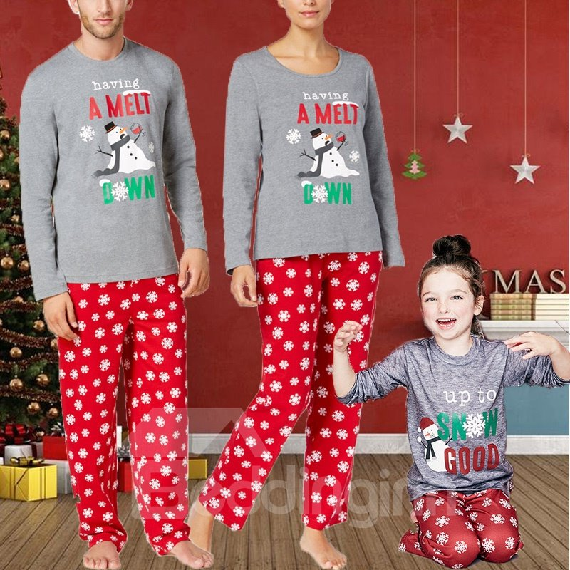 Cute and Elegant Letter with Snowflake Pattern Red Twinset Polyester Family Christmas Pajamas