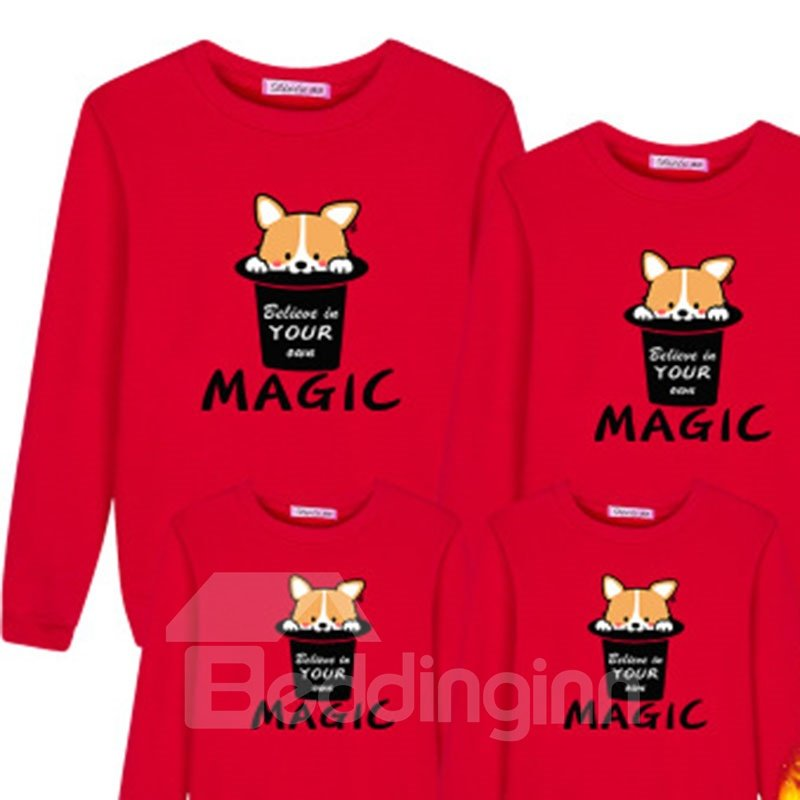 Creative and Fashion Style Teacup Dog Pattern Four Colors Cotton Family Christmas Pajamas