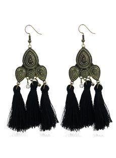 Fan Shape Tassels Earrings for Women's Girls Bohemia