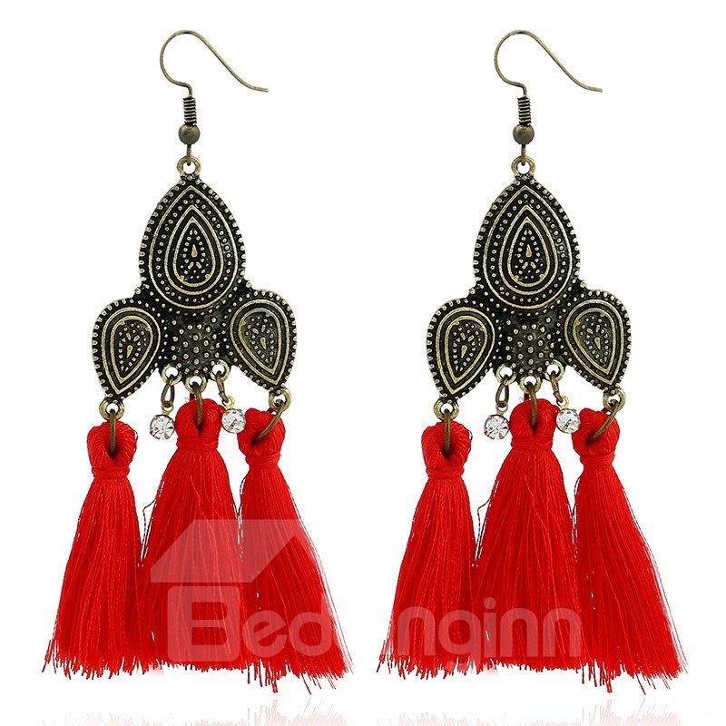 Fan Shape Tassels Earrings for Women