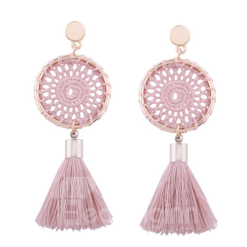 Tassel Colorful Round Shape Boho Style Earring