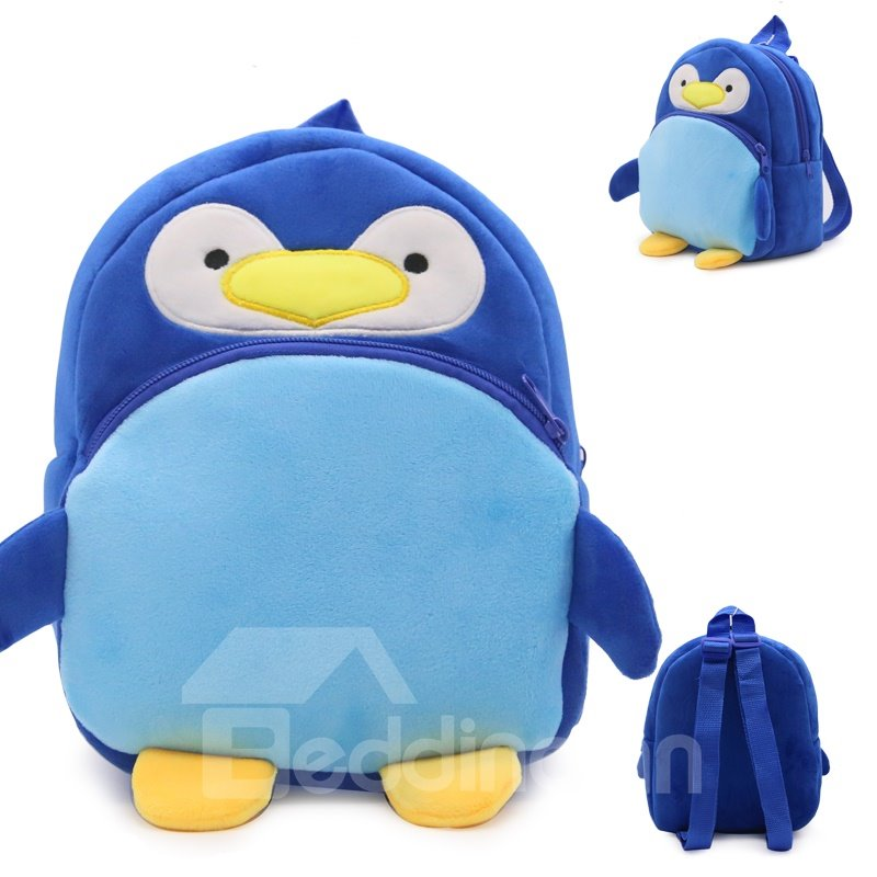 Penguin Shaped Plush Blue Cute Kids Backpack
