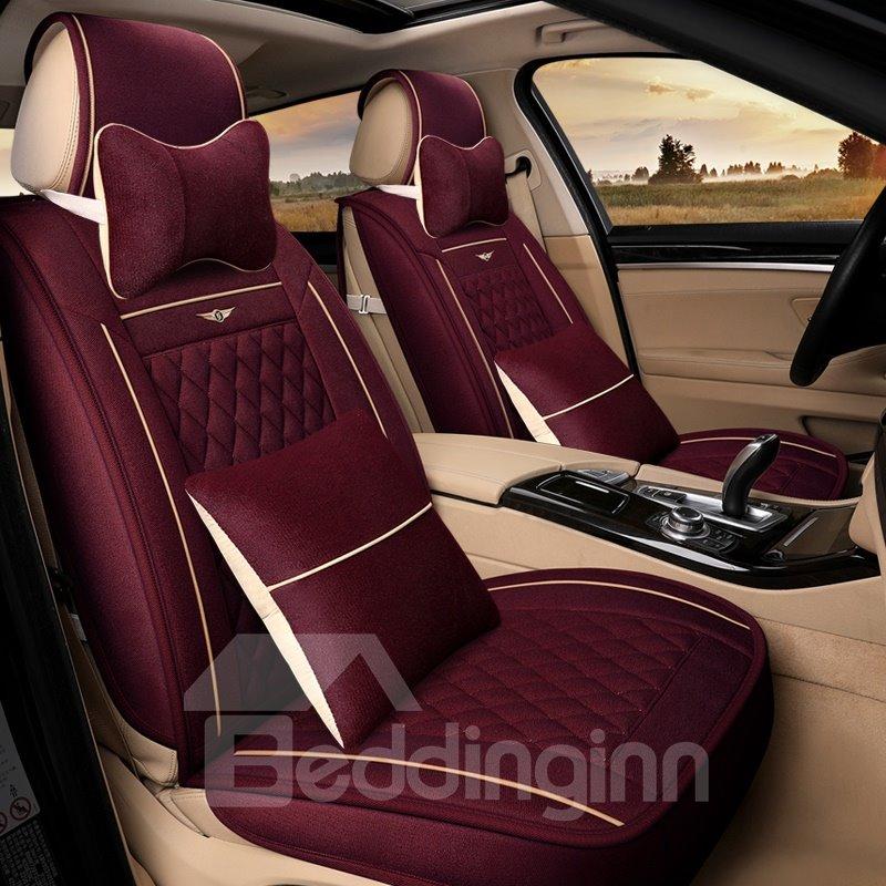 Pure Color Diamond Check Pattern Antique Universal Car Seat Cover