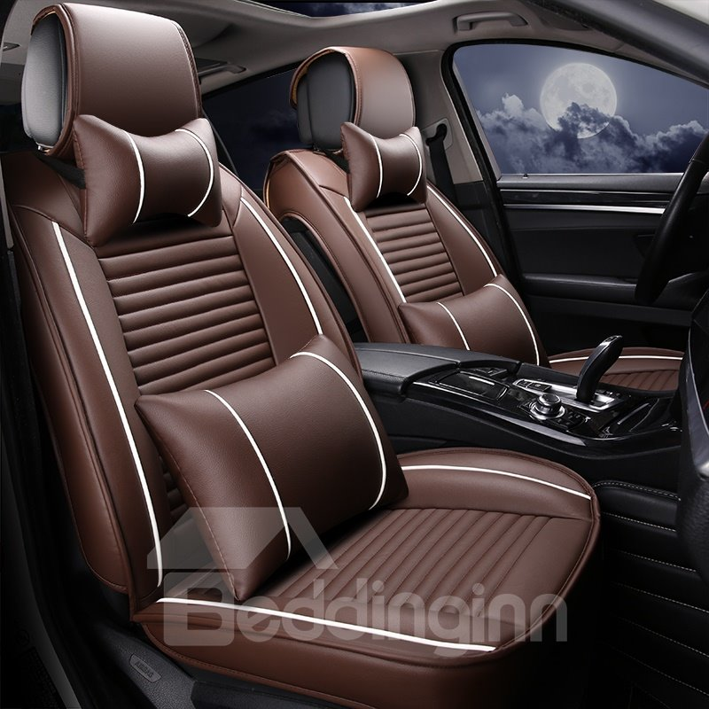 Extravagant Showy 3D Linear Design Leather Sports Style Universal Car Seat Cover