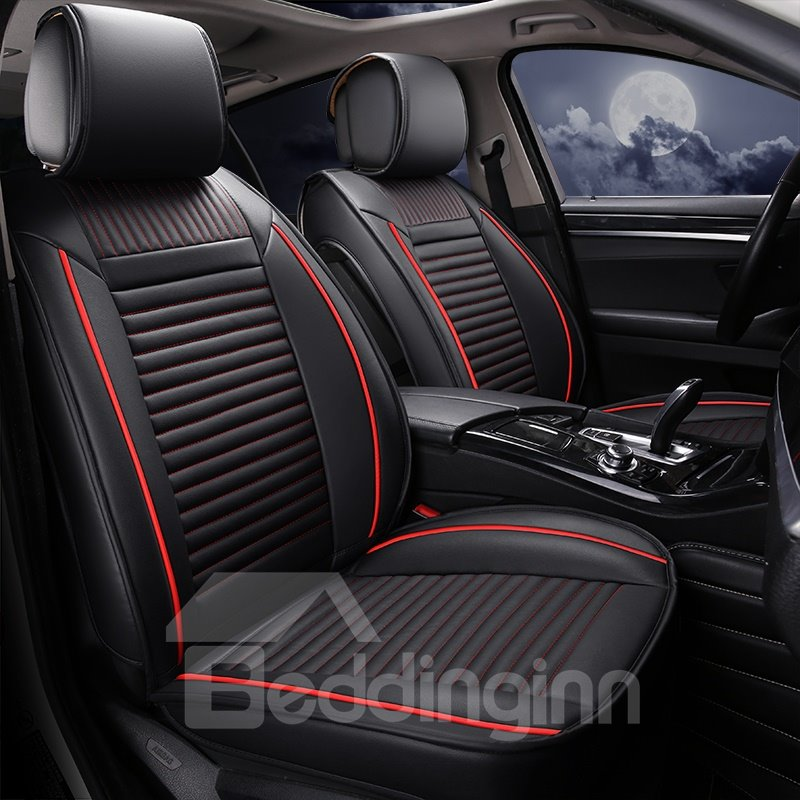 Showy 3D Linear Design Leather Sports Style Universal Car Seat Cover