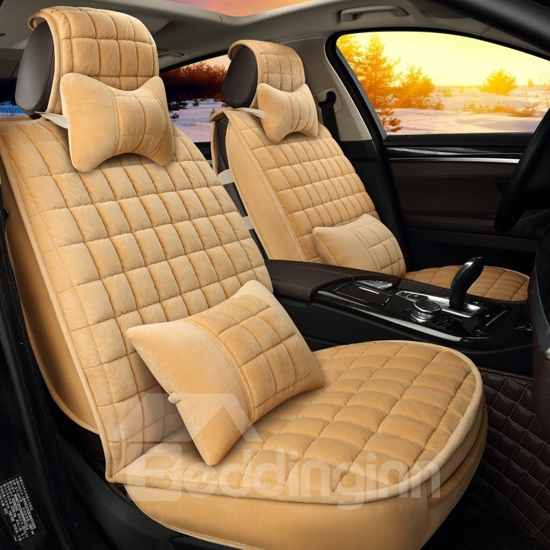 Classic Plaid Heat Retaining Pure Color Universal Car Seat Covers