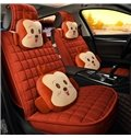 Soft Warm Distinctive With Two Cute Pillows Universal Car Seat Covers