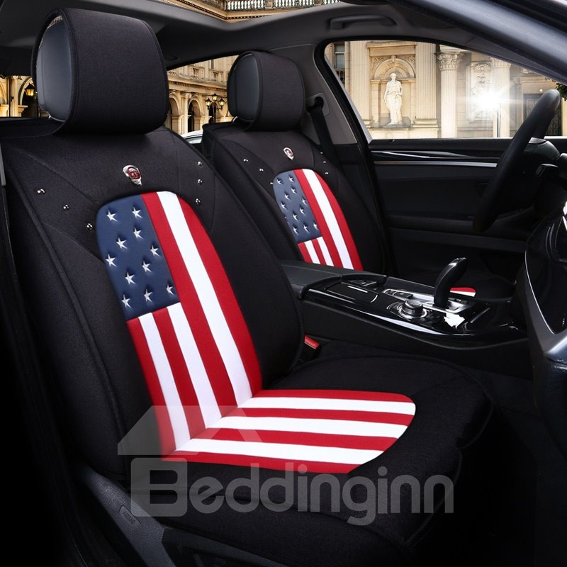 Breathable Light Flax Material Flag Pattern Universal Car Seat Covers