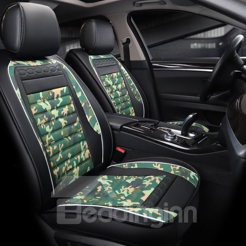 Camouflage Pattern Serviceable Bright Luster Leather Universal Car Seat Covers