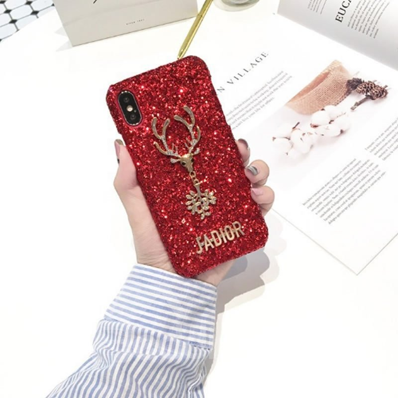 Christmas Deer Bling Red Phone Cover for Apple 6/7/8 Plus X Cases