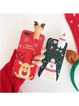 Deer Snowman Christmas Touchable Toy Phone Cover for Apple 6/7/8 Plus X Cases