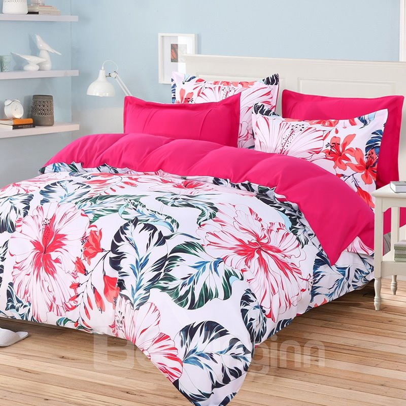 64 Blooming Flowers With Green Palm Leaves High Thread Count 4 Piece  Polyester Bedding Sets