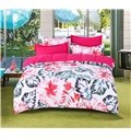 Blooming Flowers with Green Palm Leaves High Thread Count 4-Piece Polyester Bedding Sets
