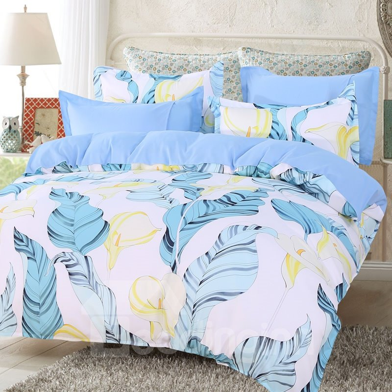 Light Blue Palm Leaves and Yellow Calla Lily Pattern 4-Pc Bedding Sets